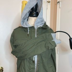Green and gray utility jacket